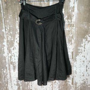 Soft Surroundings Black Linen Skirt Belted Sz M